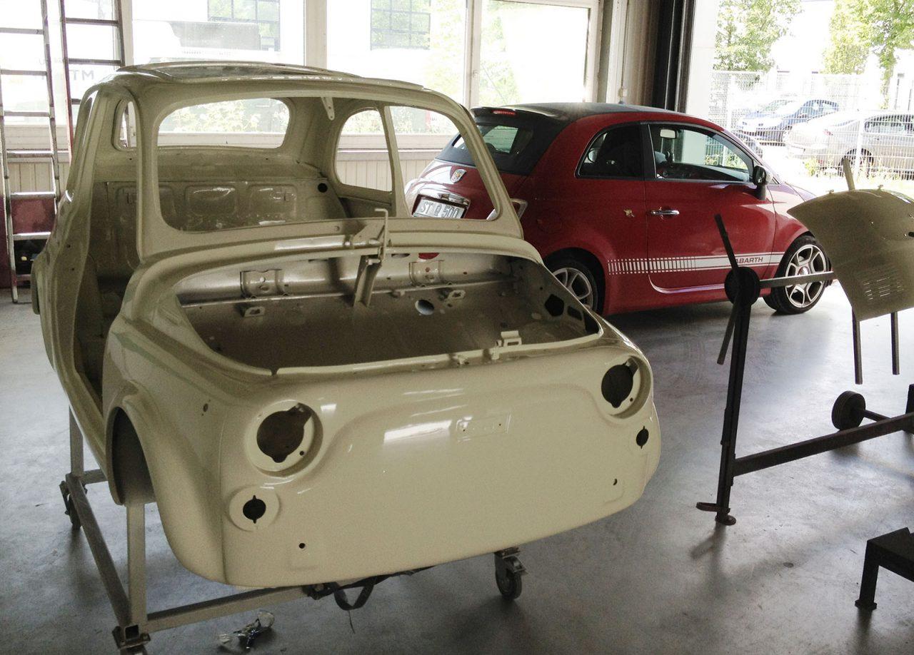 Fiat 500 alt und neu in unserer Werkstatt