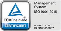 TÜV Rheinland zertifiziert nach ISO 9001:2015