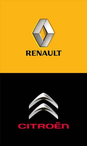 Leihwagen von Renault und Citroen